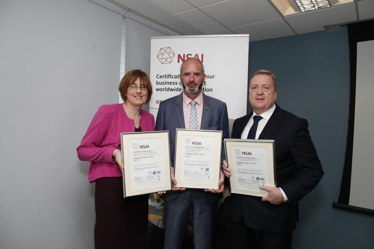Minister Pat Breen and Geraldine Larkin, CEO NSAI presenting David O'Connell, Woodfab QES Manager, with certificates